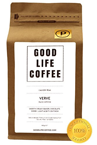 GOOD LIFE – VERVE Paleo Certified, 100% Organic Coffee, Bulletproof Optimised, Premium Roasted Coffee from Cauvery Peak, Roasted to Order, Award Winning Single Origin Arabica Coffee Beans, Low Acidity Coffee – Impossibly Delicious Taste (250g Ground – Cafetiere) 4102mAzDkkL