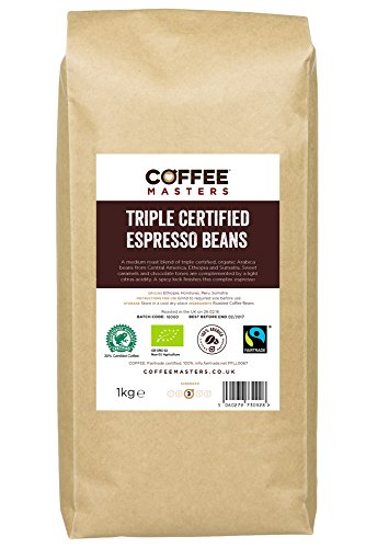 Coffee Masters Triple Certified, Organic, Fairtrade, Arabica Coffee Beans 1kg 41wLuwTmzjL