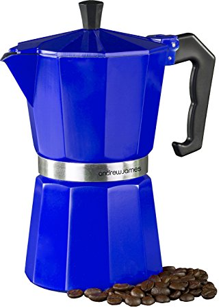 Andrew James Espresso Maker Percolator Moka Pot In Blue, 6 Cup andrew james espresso maker percolator moka pot in blue 6 cup