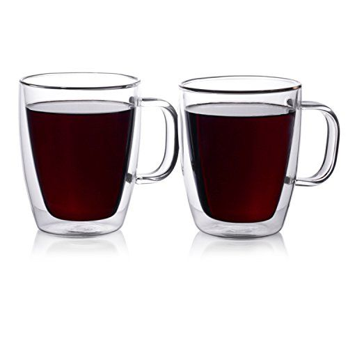 Double Walled Glass Coffee Mugs 500ml, Set of 2, Insulated Glass Cups for Morning Hot Coffee, Tea or Cold Drinks double walled glass coffee mugs 500ml set of 2 insulated glass cups for morning hot coffee tea or cold drinks