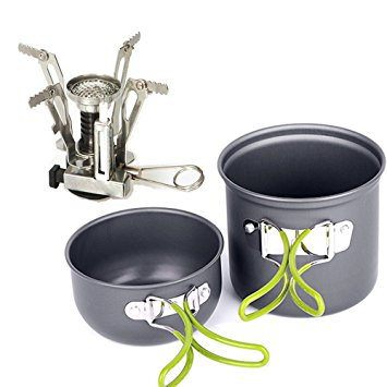EIALA Camping Stove + Camping Pot Backpacking Cookware Set Picnic Cookware Cooking Tool Set Pot Pan + Piezo Ignition Propane Canister Stove eiala camping stove camping pot backpacking cookware set picnic cookware cooking tool set pot pan piezo ignition propane canister stove