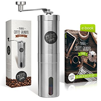 Prime Folks Co. Hand Coffee Grinder & Brewing Tips EBook ~ Stainless Steel Manual Coffee Bean Mill with Adjustable Ceramic Burrs ~ Compatible with Aeropress for Compact Travelling prime folks co hand coffee grinder brewing tips ebook stainless steel manual coffee bean mill with adjustable ceramic burrs compatible with aeropress for compact travelling