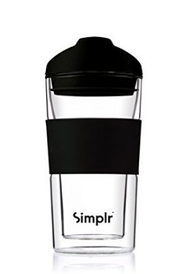 Reusable Glass Travel Mug Coffee Cup – Insulated Double Walled Heat Resistant Barista Approved Environmentally Friendly BPA-free – Simplr Sleek – 360ml / 12.7oz reusable glass travel mug coffee cup insulated double walled heat resistant barista approved environmentally friendly bpa free simplr sleek 360ml 12 7oz 270x400