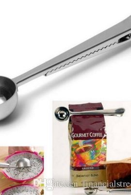 Stainless Steel Ground Coffee Measuring Scoop Spoon with Bag Seal Clip Silver stainless steel ground coffee measuring scoop spoon with bag seal clip silver 270x400