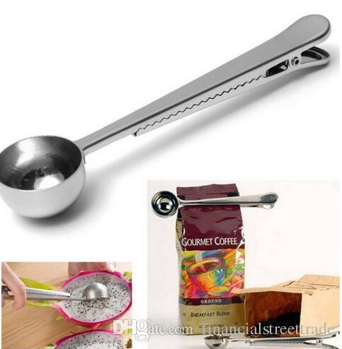 Stainless Steel Ground Coffee Measuring Scoop Spoon with Bag Seal Clip Silver stainless steel ground coffee measuring scoop spoon with bag seal clip silver
