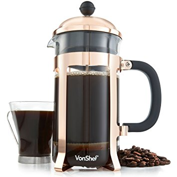 VonShef 8 Cup/1 Litre/1000ml Copper French Press Cafetiere Glass Coffee Maker vonshef 8 cup1 litre1000ml copper french press cafetiere glass coffee maker