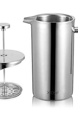 X-Chef Double Walled Stainless Steel Cafetiere French Press Coffee Maker x chef double walled stainless steel cafetiere french press coffee maker 270x400