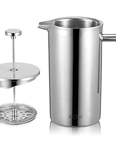 X-Chef Double Walled Stainless Steel Cafetiere French Press Coffee Maker x chef double walled stainless steel cafetiere french press coffee maker