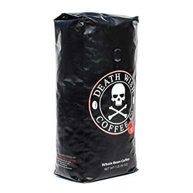 Death Wish Coffee, The World's Strongest Coffee, Whole Bean, Fair Trade, Organic, Shade Grown, 16 oz Bag death wish coffee the worlds strongest coffee whole bean fair trade organic shade grown 16 oz bag