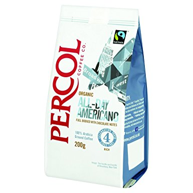 Percol Organic FT All-Day Americano Ground Coffee 200 g (Pack of 2) percol organic ft all day americano ground coffee 200 g pack of 2