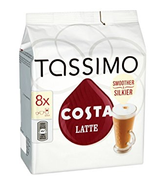 tassimo TASSIMO Costa Latte coffee 16 discs, 8 servings (Pack of 5, Total 80 discs/pods, 40 servings) tassimo costa latte coffee 16 discs 8 servings pack of 5 total 80 discspods 40 servings