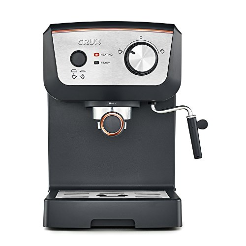 CRUX 15 Bar Espresso Filter Coffee Machine – Authentic Italian Barista Style Coffee Maker with Milk Steam Wand for Latte & Cappuccino – Heating Light – 1.25L Tank 41U OEsddL