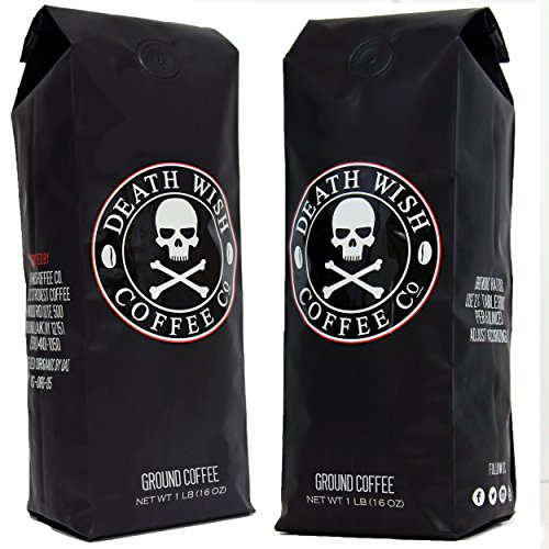 , Death Wish Ground Coffee Bundle Deal, The World's Strongest Coffee, Fair Trade and USDA Certified Organic, 2 lb Bag, Best Coffee Maker, Best Coffee Maker