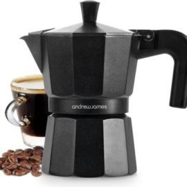 Andrew James Moka Stove Coffee Pot In Matte Black, 3 Cup