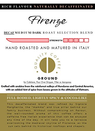 AROMISTICO COFFEE | Rich Aroma DECAFFEINATED Swiss Water Medium Roast | Premium Italian Roasted Whole COFFEE BEANS | FIRENZE BLEND | For Espresso, Moka Pot, Filter Cafetiere, Pour-Over Drip or Aeropress | FULL BODIED, LIGHTLY SPICY and COCOA-LIKE aromistico coffee rich aroma decaffeinated swiss water medium roast premium italian roasted whole coffee beans firenze blend for espresso moka pot filter cafetiere pour over drip or aeropre