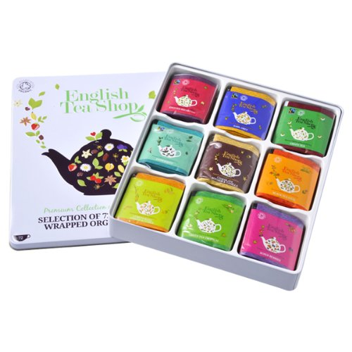 English Tea Shop Assorted Fairtrade and Organic Tea Bags Gift Tin (72 Sachets) english tea shop assorted fairtrade and organic tea bags gift tin 72 sachets