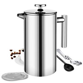 French Press Cafetiere, TopElek 8 Cups French Press Coffee Maker, Best Double Walled Stainless Steel Cafetiere with Measuring Spoon, 2 Mixing Spoon and 3 Pcs Filter Screens – 1000ml /34 oz