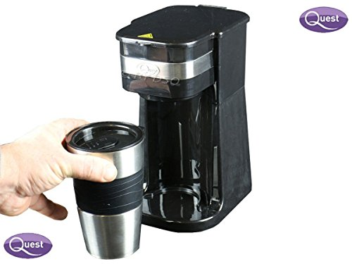 FreshGadgetz QUEST One 1 Single Serve One Cup Personal Coffee Maker Pod + 420 ml Travel Mug