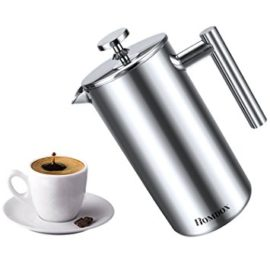 Homdox 8-Cup Cafetiere Stainless Steel Coffee Maker And French Press Glass,1000ml,34oz