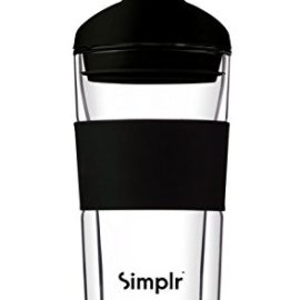 Reusable Glass Travel Mug Coffee Cup – Insulated Double Walled Heat Resistant Barista Approved Environmentally Friendly BPA-free – Simplr Sleek – 360ml / 12.7oz reusable glass travel mug coffee cup insulated double walled heat resistant barista approved environmentally friendly bpa free simplr sleek 360ml 12 7oz 270x270