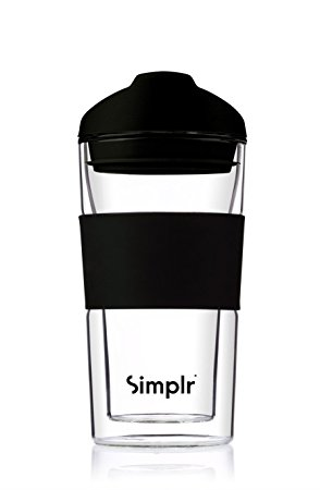 Reusable Glass Travel Mug Coffee Cup – Insulated Double Walled Heat Resistant Barista Approved Environmentally Friendly BPA-free – Simplr Sleek – 360ml / 12.7oz