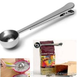 Stainless Steel Ground Coffee Measuring Scoop Spoon with Bag Seal Clip Silver
