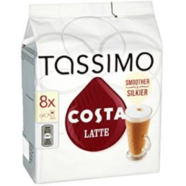 TASSIMO Costa Latte coffee 16 discs, 8 servings (Pack of 5, Total 80 discs/pods, 40 servings)