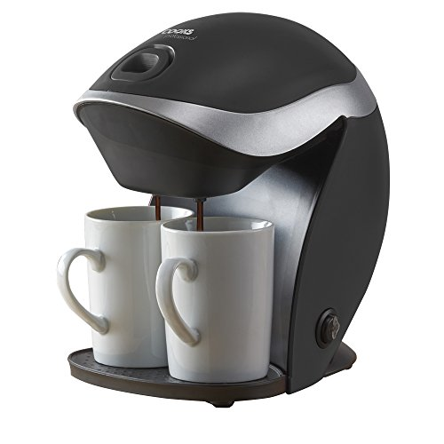 , Cooks Professional 350W 2 Cup Filter Coffee Machine, Electric Compact Fresh Instant Ground Coffee Maker with Reusable Washable Filter (Black), Best Coffee Maker