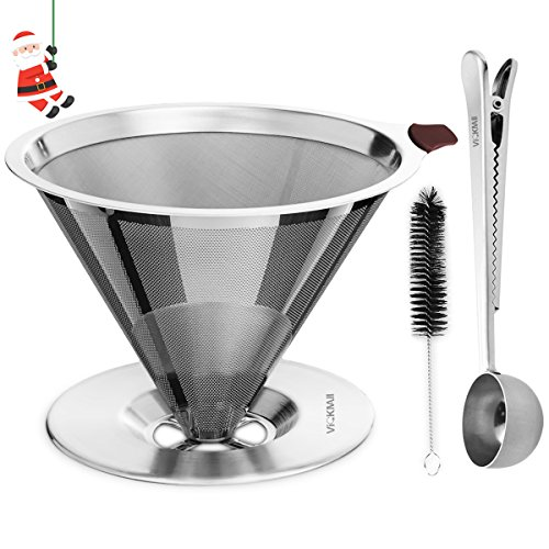 , Coffee Filter, VickMall 304 Stainless Steel Pour Over Coffee Filter for 1-4 Cups with Free Coffee Spoon and Cup Cleaner Brush, Best Coffee Maker, Best Coffee Maker