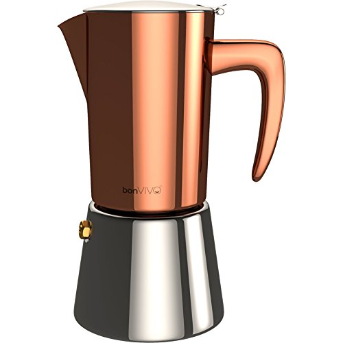 , bonVIVO Intenca Espresso Maker Made Of Stainless Steel With Copper Chrome Finish, For Full Bodied Espresso, Classic Moka Pot, For 6 Cups Of Espresso, Best Coffee Maker, Best Coffee Maker