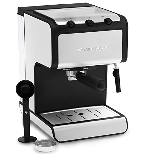 , Andrew James Barista Coffee and Espresso Machine with Cup Warmer and Dual Layer Stainless Steel – Milk with Detachable Nozzle – Removable 1.4L Water Tank – 800W, Best Coffee Maker, Best Coffee Maker