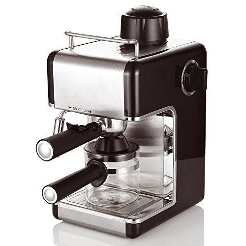 , Cookspace ® 4-Cup Steam Espresso & Cappuccino, Latte Maker, Stainless Steel Coffee Maker Machine 800W 3.5bar, Black, Best Coffee Maker, Best Coffee Maker